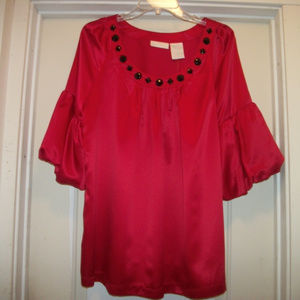 NEW W TAGS WORTHINGTON SEXY SATIN BLING BLOUSE X L